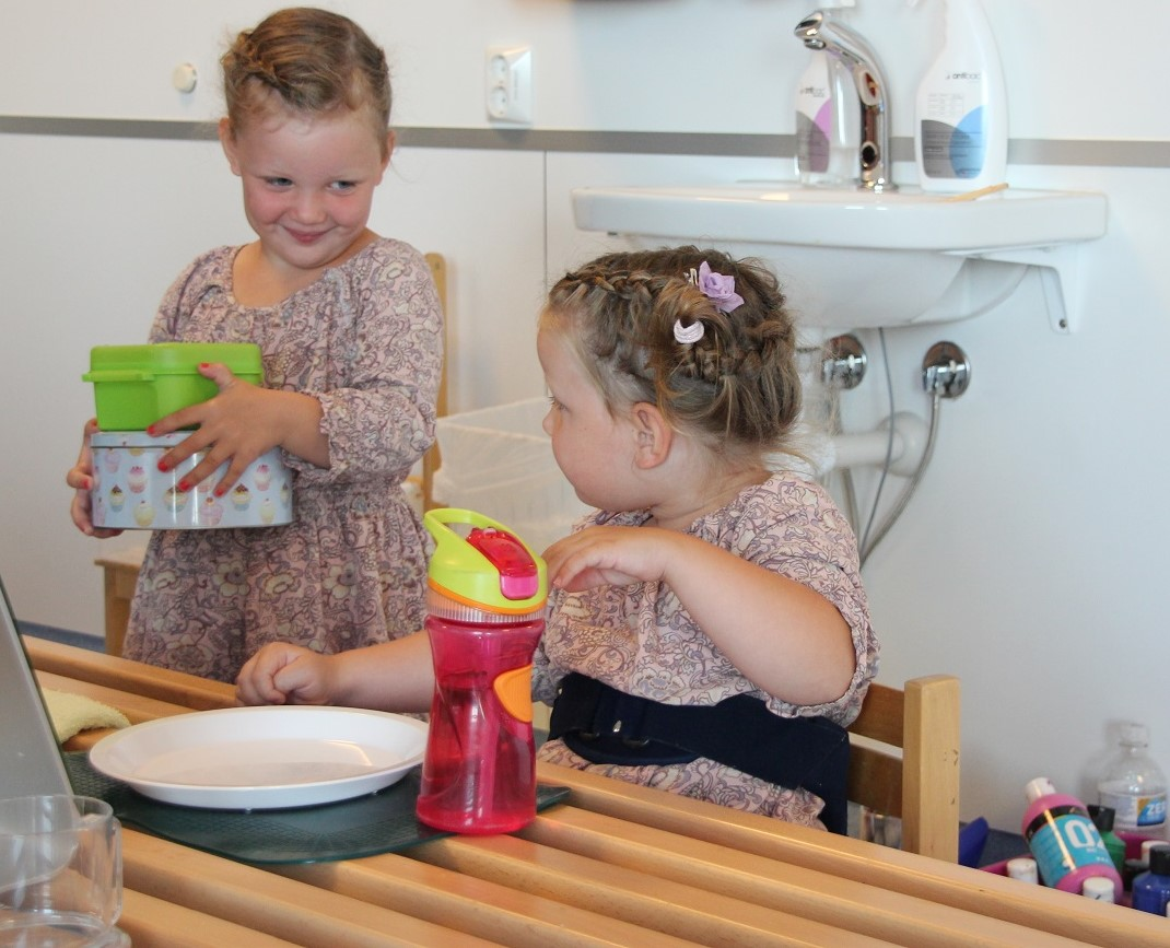 Bilde av tvillingene Olivia og Aurora (4).