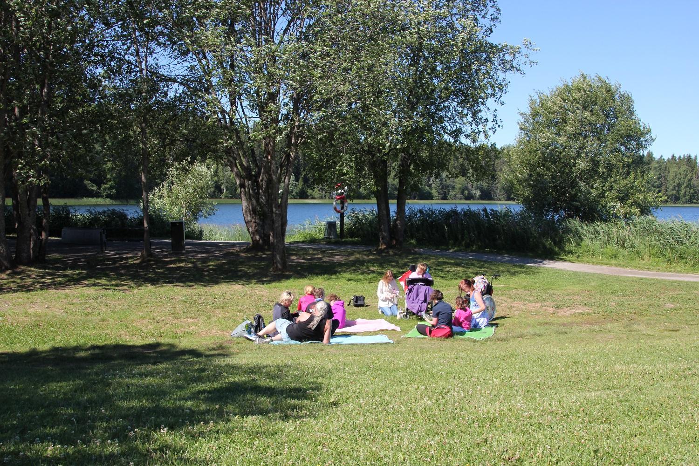 Landskapsbilde av gruppe på piknik ved Nordbytjern